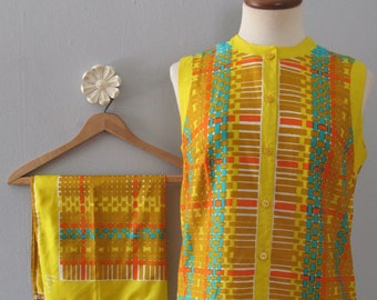 Vera Neumann blouse - 60s vintage bright yellow tunic geometric print top sleeveless button shirt scarf two 2 piece boho hippie small medium