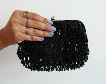 black beaded clutch - vintage 60s Walborg mid century cocktail party purse fringe mod party bead rhinestone gold chain handbag small bag