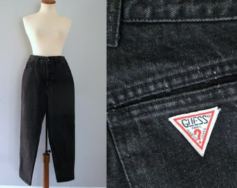"80s Guess jeans - vintage distressed black dark denim high waisted tapered mom hipster straight leg dungarees georges marciano 30"" waist"