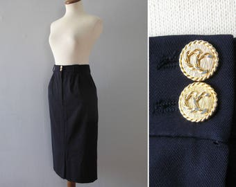 vintage Chanel skirt - 80s navy blue boutique gold buttons high waisted pencil wiggle knee length midi long business work designer small 25