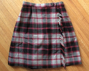 tartan plaid skirt - 60s vintage Lord & Taylor red blue black gray wool woven knit high waisted mini skort shorts preppy mid century mod 24""