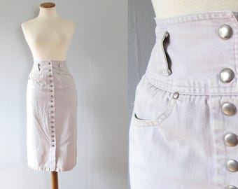 forenza denim skirt - 80s 90s vintage light grey jean high waisted tight pencil wiggle fit knee length midi snaps up front pockets xs small