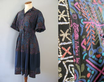 50s batik shirt dress - vintage blue cotton short sleeve novelty print full circle skirt color block fit and flare handmade Bate's Fabrics