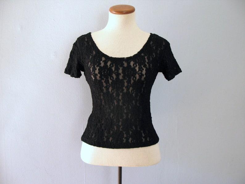 black cropped top  90s vintage sheer floral lace mesh blouse image 0