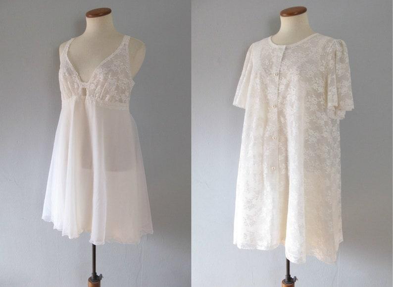 60s lingerie set  vintage white floral lace slip nightgown image 0
