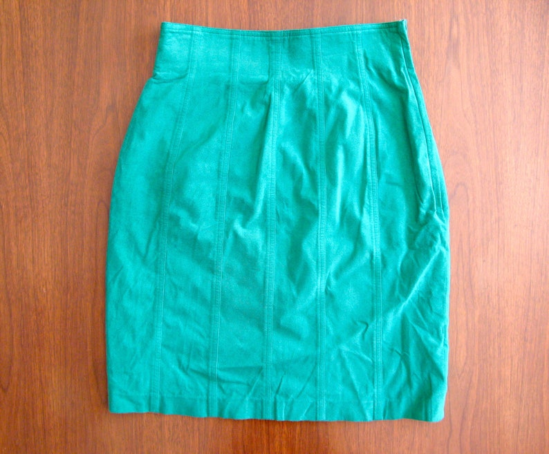 green mini skirt  80s vintage bright neon primary color kelly image 0