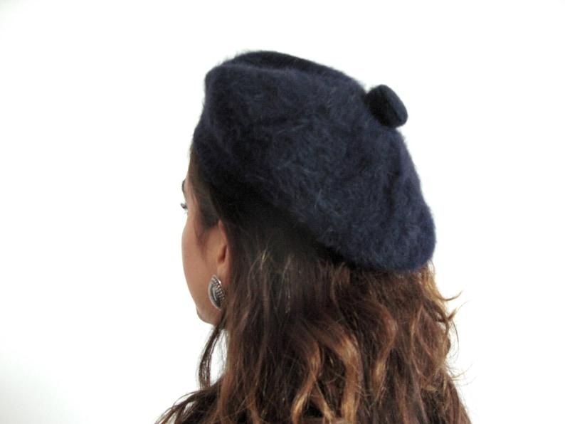 60s mohair beret  vintage french dark navy blue round hat image 0