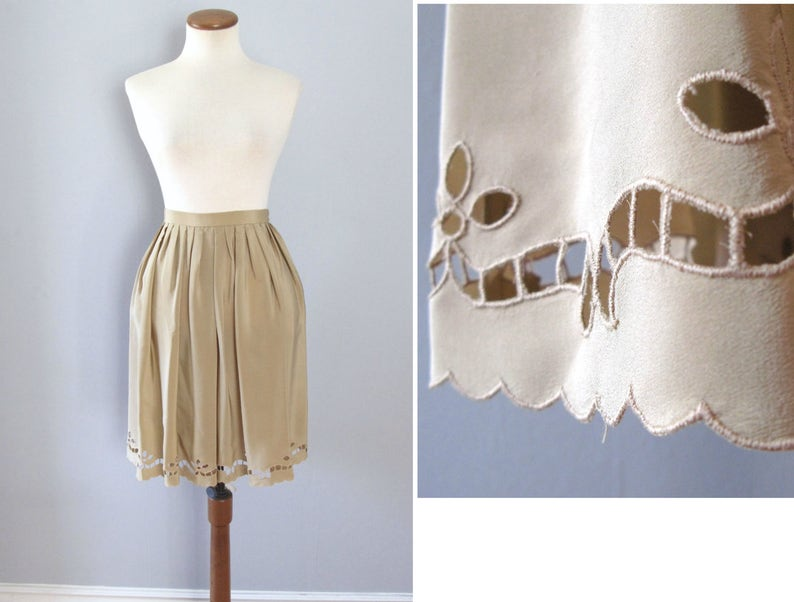 70s scallop skirt  vintage tan cutout high waisted beige nude image 0
