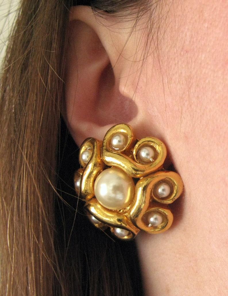 Alexis Lahellec earrings  80s vintage gold pearl metallic image 0