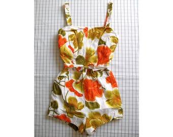 50s hibiscus swimsuit - vintage McInerny's Malia playsuit romper bathing suit one piece floral tiki hawaiian high waisted pinup retro orange