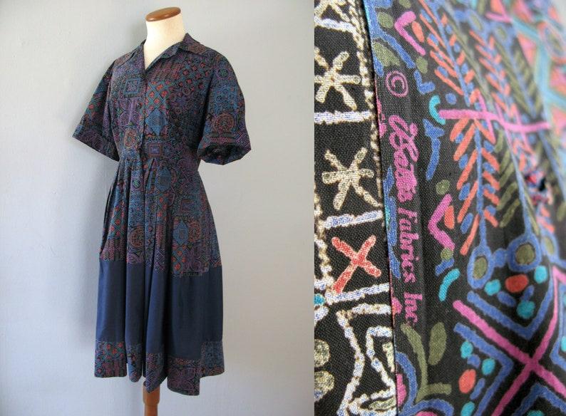 50s shirt dress  vintage blue batik cotton short sleeve image 0