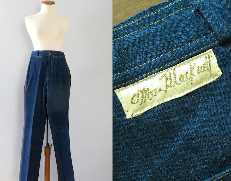 70s blue jeans  vintage Mr Blackwell designer indigo denim image 0