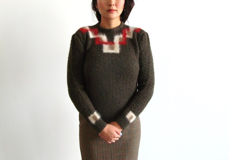 fuzzy pinup sweater  80s vintage geometric gray brown tight image 0