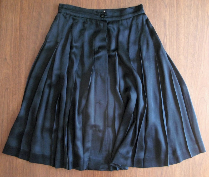 black Krizia skirt  vintage 80s silk designer pleated high image 0