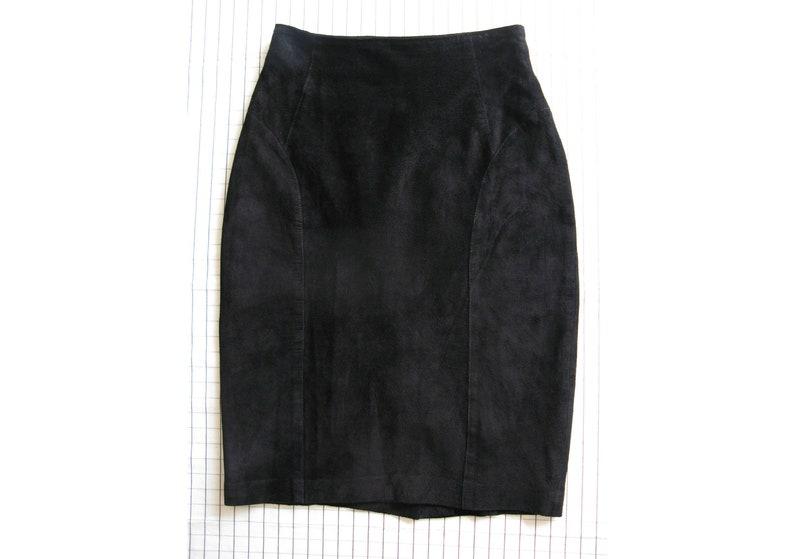 leather mini skirt  80s vintage worn soft black suede short image 0