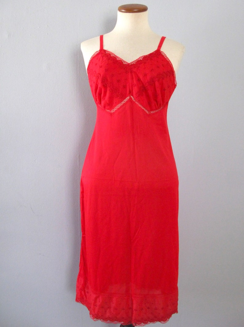 50s red slip  vintage Kayser bright cherry lace floral cutout image 0