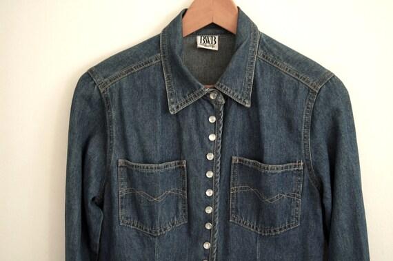 dbd8003933 90s denim shirt vintage dark navy blue pearl snap slim fit