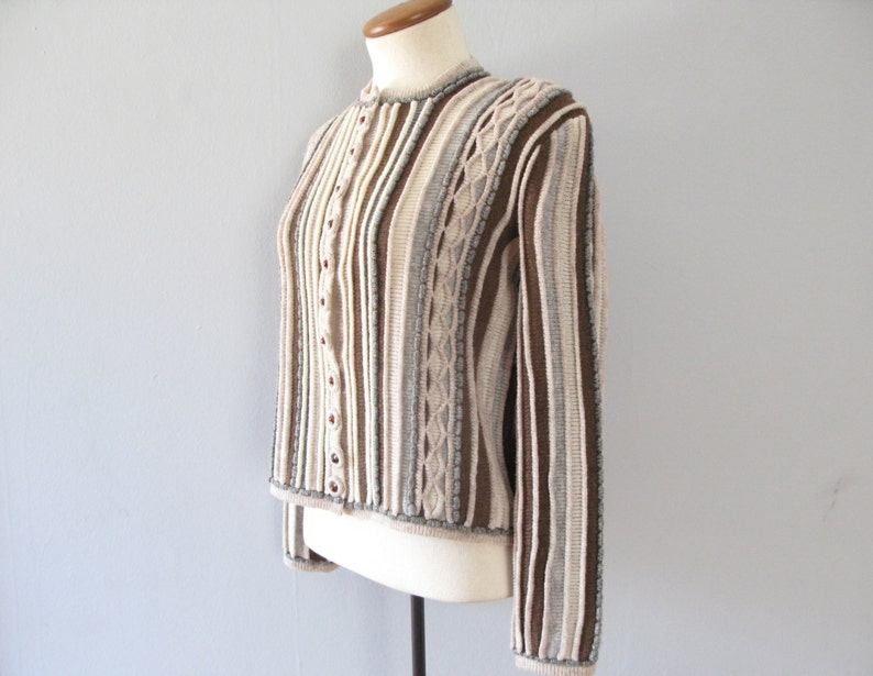 70s knit cardigan FINAL SALE vintage striped brown tan gray sweater jumper preppy pinup chunky warm long sleeve button up boho medium