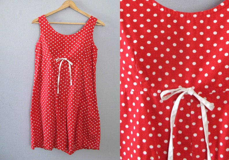 179229c0eed 80s vintage romper red white polka dot one piece shorts
