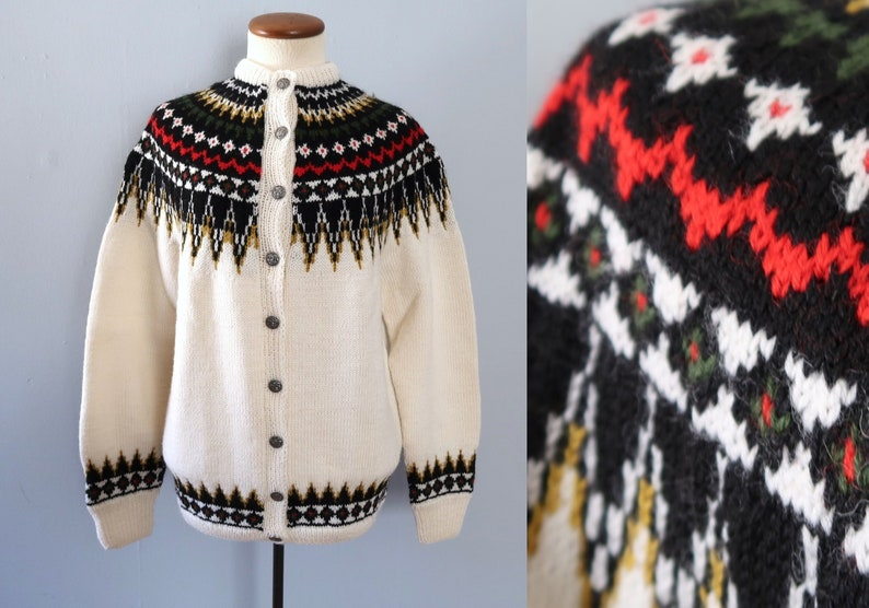 Fair isle cardigan  60s vintage wool knit knitted oversized image 0