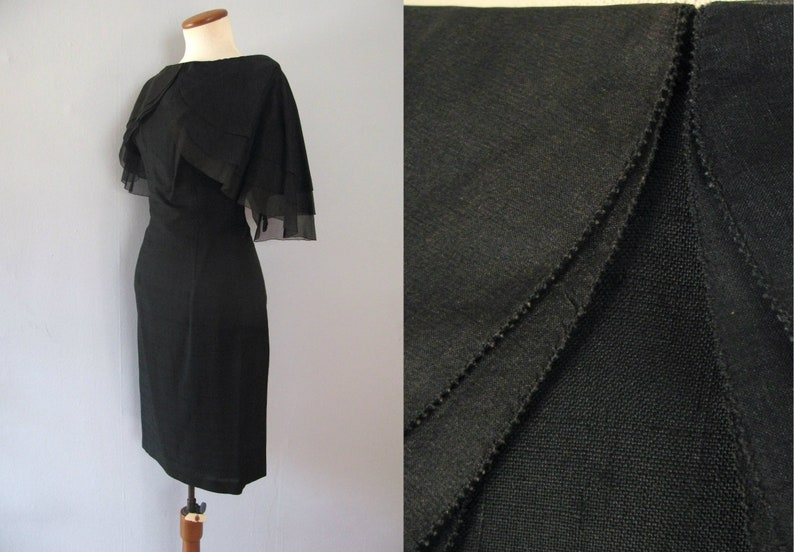 50s black dress  vintage De Michel peter pan collar sheer image 0
