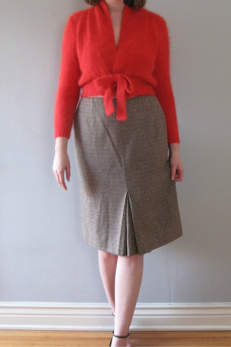 brown plaid skirt  60s vintage plaid houndstooth wool woven image 0