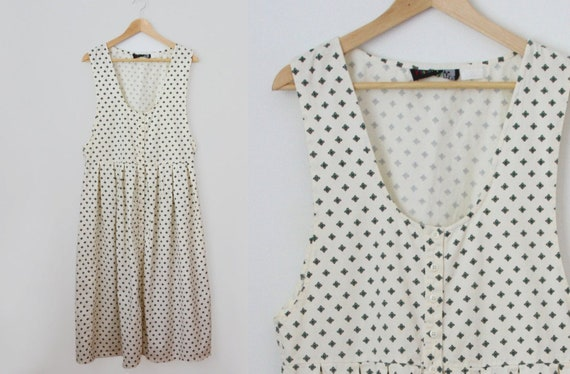 80s pinafore dress - vintage off white floral geom