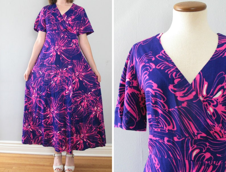 purple hawaiian dress  70s vintage bright psychedelic floral image 0