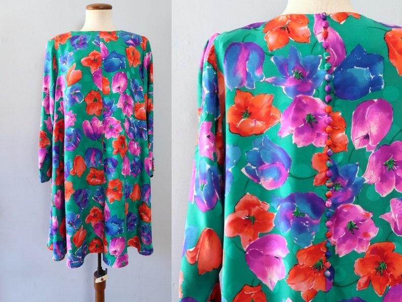 floral silk dress  80s vintage primary color oversized flower image 0