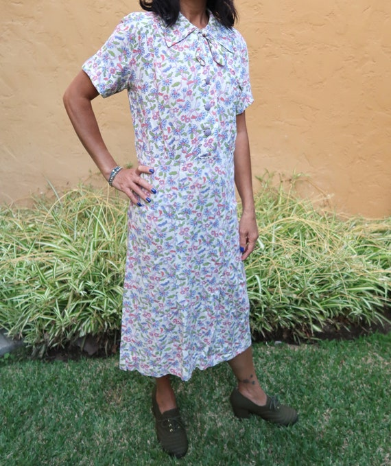 New Girls Lavender//Green Cotton Flower Printed Dress