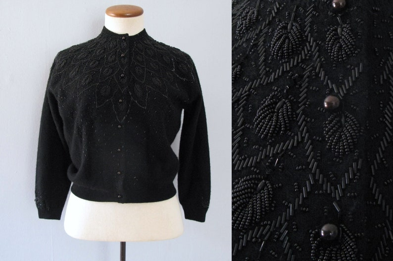 50s black cardigan  vintage Silver House beaded wool sweater image 0