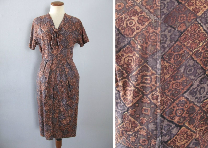 John Selby dress  vintage 50s abstract novelty print brown image 0