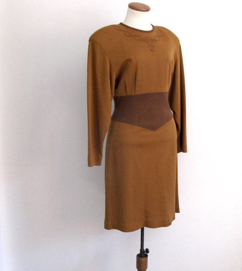 brown knit dress  80s vintage sweater embroidery color block image 0