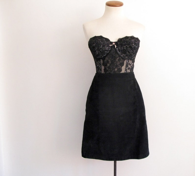 leather mini skirt  80s vintage black suede short tight high image 0