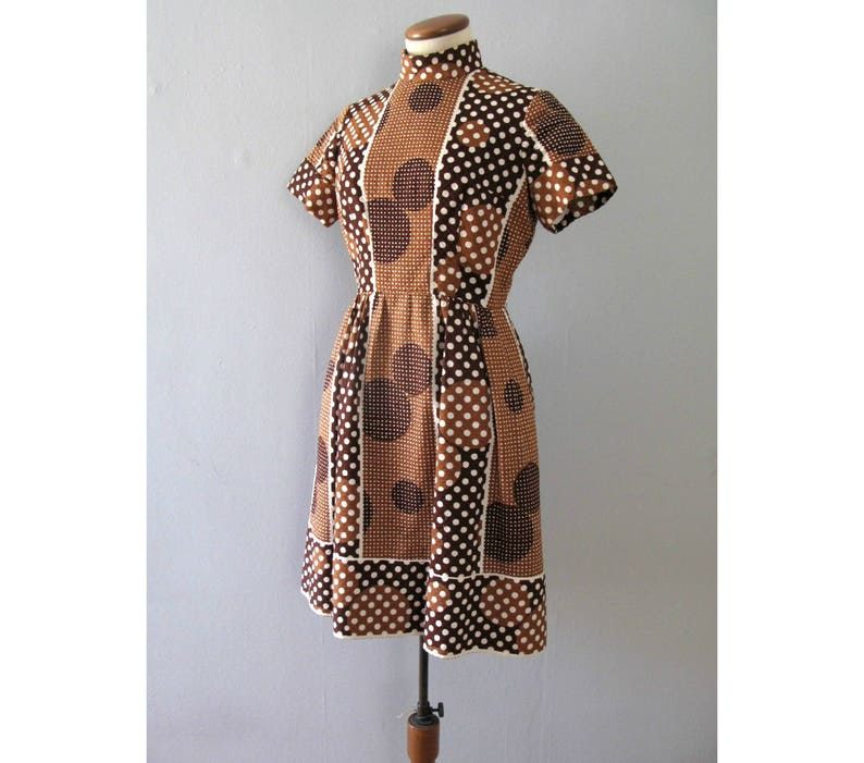 polka dot dress  vintage 60s Estelle Allardale brown white image 0