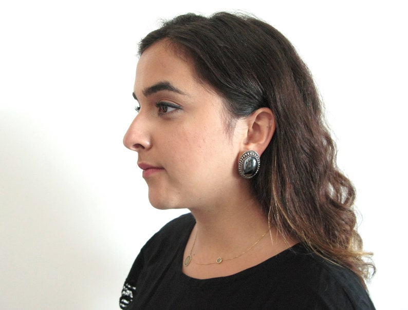 Whiting & Davis earrings  60s vintage hematite silver black image 0