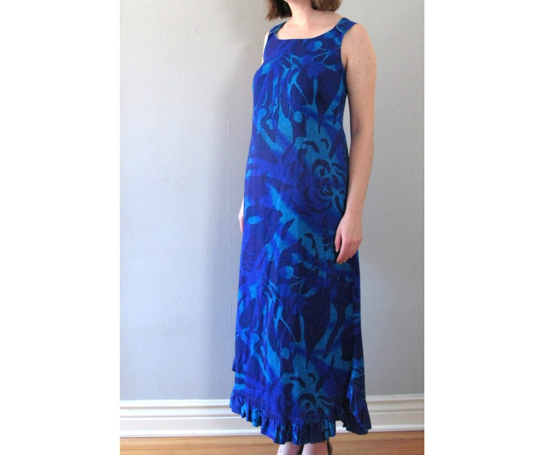 blue hawaii maxi dress  70s vintage bright watercolor image 0