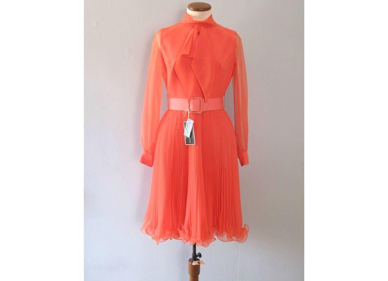 619230e5574 Pink party dress vintage 60s pastel orange Jack Bryan mid