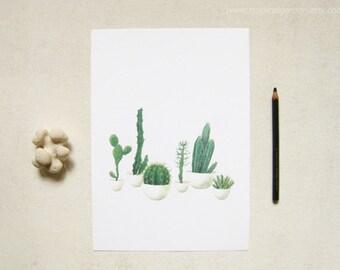 Cactus Watercolor Print - Any ONE 8x10 OR 8x11 Cactus Art, Cactus Print / 8x10 OR 8x11 Botanical Print, Modern Home Decor