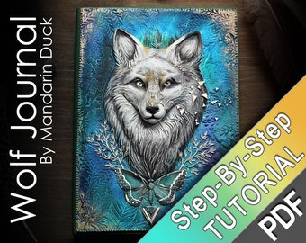 Mystical Wolf Polymer Clay Journal Tutorial -  wild animal fur texture butterfly turquoise blue diary