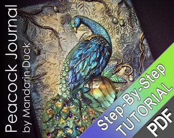 MAGICAL PEACOCK Polymer Clay Journal Tutorial - bird tail feathers crystals mica