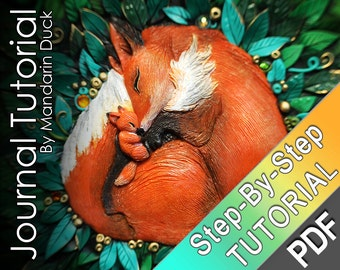 Polymer Clay Journal Tutorial - Fox Journal -  vibrant floral organic patterns fox cub baby mother love nest family