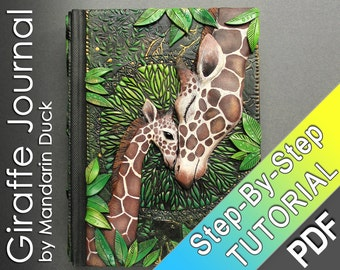 Polymer Clay Journal Tutorial - Giraffe Journal - leather imitation effect vibrant floral patterns