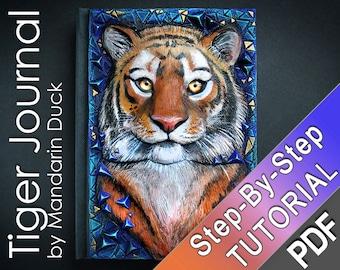 SIBERIAN TIGER Polymer Clay Journal Tutorial - animal tiger cat furry diary book beast creature