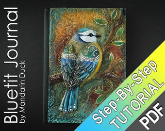 Polymer Clay Journal Tutorial - Bluetit Journal - leather imitation effect vibrant floral patterns
