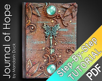 Polymer Clay Journal Tutorial - Leather imitation, fonts, patina glass beads