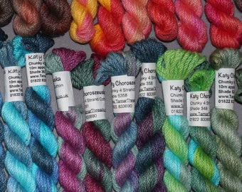 Thick Embroidery Floss, Chunky Weight 4 Strand Cotton Thread for Needlecrafts, Hand Dyed Variegated Colours