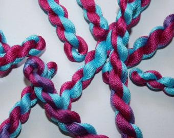 Hand Dyed Fine Cotton Perle Thread for Embroidery, Quilting, Creative Needlecrafts. Variegated Yarn Shocking Pink and Turquoise - shade 5282