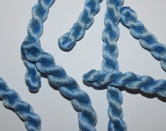 Embroidery Thread - Fine Cotton Perle - Hand Dyed Variegated Shades of Blue Pastel - Skein Ref.5266