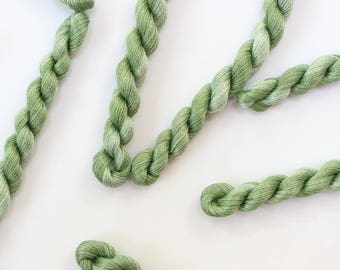 Hand Dyed Needlework Thread - Fine Perle Embroidery Cotton Yarn - Variegated Shades of Green - Skein Ref. 5243